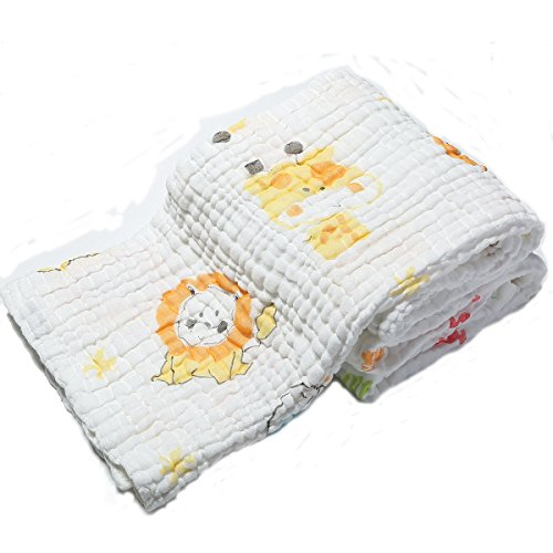 Lucear Muslin Baby Bath Towels Lovely Animal Print Also Warm for Baby Blanket (yellow)