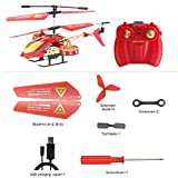 GPTOYS Remote Control Helicopter with Gyro - 4 Channel Indoor/ Outdoor Flying RC Heli - Best Birthday/ Christmas Gift for Boys and Girls (Red)