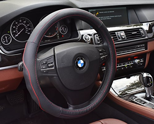 Pro Ecotech Genuine Leather Car Steering Wheel Cover Universal Fit 15 Inch Anti-Slip & Odor-Free, Sweat Absorbent, Red & Blue (Porsche Steering Wheel)
