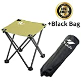 portable folding stools - Folding Camping Stool, Portable Chair for Camping Fishing Hiking Gardening and Beach, Green Yellow Seat with Black Bag (1 Piece)