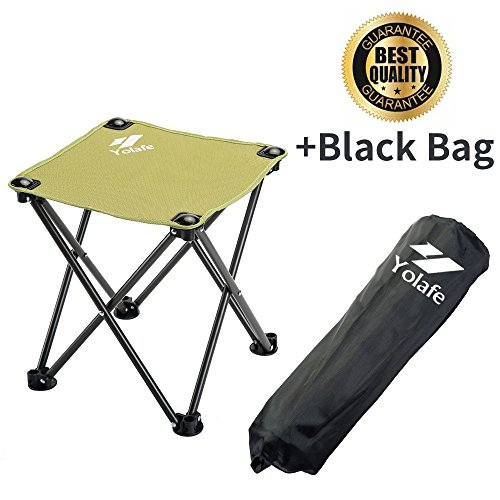 Folding Camping Stool, Portable Chair for Camping Fishing Hiking Gardening and Beach, Green Yellow Seat with Black Bag (1 Piece) - Portable Folding Stool