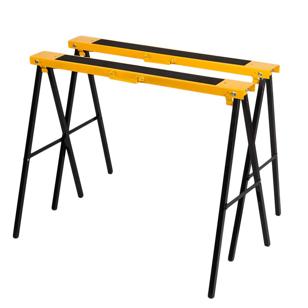 "TUFFIOM TF-001 Portable 2-Pack Steel Log Folding Pair Sawhorse 30"" Tall, 275 lbs Capacity for Each, 600 lbs together Heavy Duty Metal Foldable Saw Horse Jobsite Tool Work Stand Easy to Storage"
