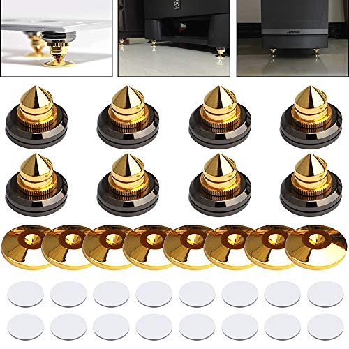 8 Set Golden-Plated Speaker Spikes, LAMPTOP Speaker Stands CD Audio Subwoofer Amplifier Turntable Isolation Feet Solid Brass Cone Isolator Brass Base Pads Shockproof Mats with Double-Sided Adhesive