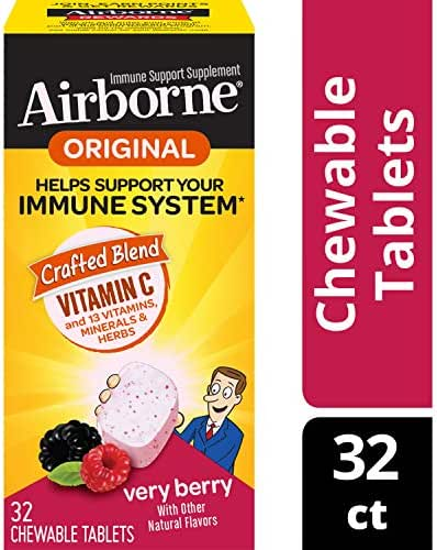 Airborne Vitamin C 1000mg - Very Berry Chewable Tablets (32count In A Box), Gluten-free, Packaging May Vary, Berry, 32count (pack Of 36)