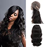 360 Lace Frontal Wig Peruvian Hair 150% Density Pre-Plucked Hairline 360 Lace Front Human Hair Wig Body Wave Hair Wig with Baby Hair for Black Women (18inch)