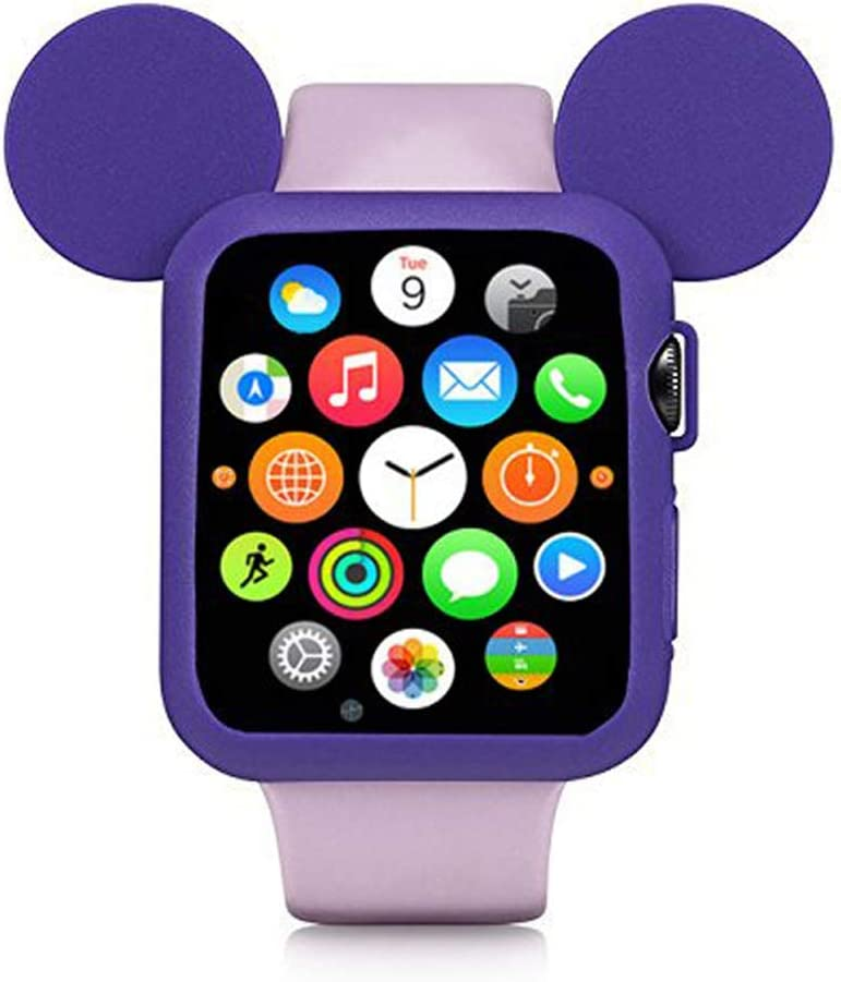 Navor Soft Silicone Protective Case with Cartoon Mouse Ears Compatible for Apple Watch 42mm Series 1/2/3 - Purple