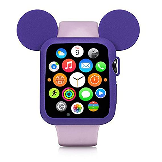 wholesale dealer 8cf3b f4dfe Navor Soft Silicone Protective Case Disney Character Mickey Mouse Ears  Compatible with Apple Watch 42mm Series 1/2/3 - Purple