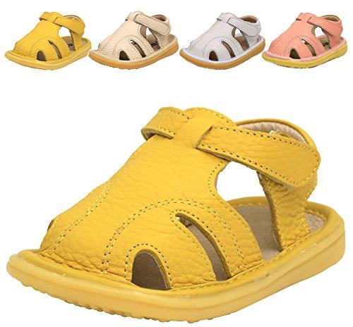 LONSOEN Soft Toddler Boy Girl Summer Outdoor Soft Leather Sandals(Infant/Toddler),Ginger KSD009 CN15 (Leather Sandals Infant)