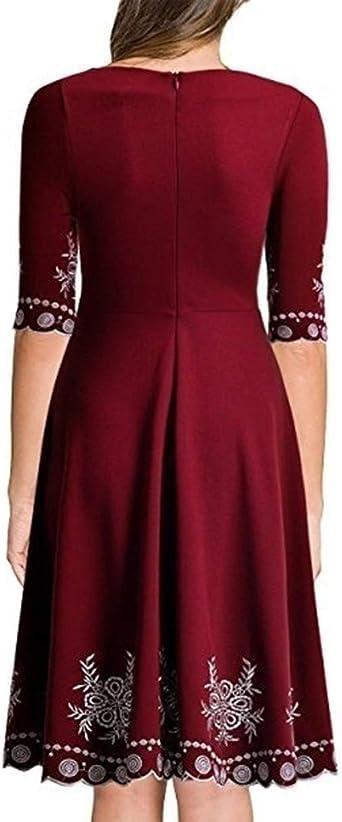 Sukienka damska elegancka sukienka Pottoa Slim Fit z dekoltem w kształcie litery O - modna sukienka mini z nadrukiem - obustronna sukienka na co dzień, do pracy, na imprezę: Odzież