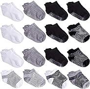 Duufin 16 Pairs Toddler Ankle Socks Low Cute Socks Baby Non Slip Socks With Grip Anti Skid Socks Toddler