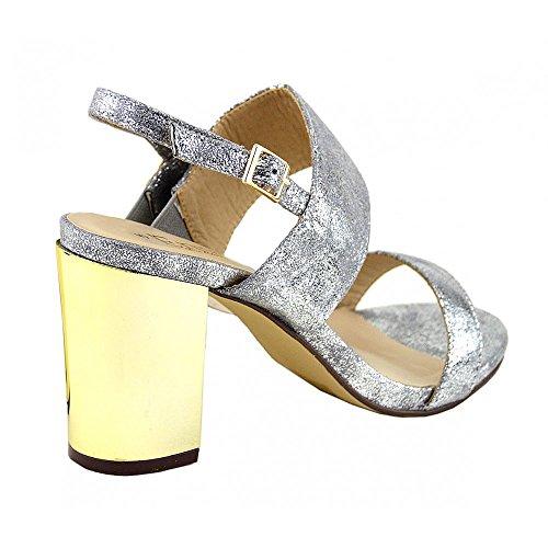 Partito Nuovo Oro Tacco Blocco Argento Footwear Sposa Scarpe ... Strappy ... Scarpe bdd0aa
