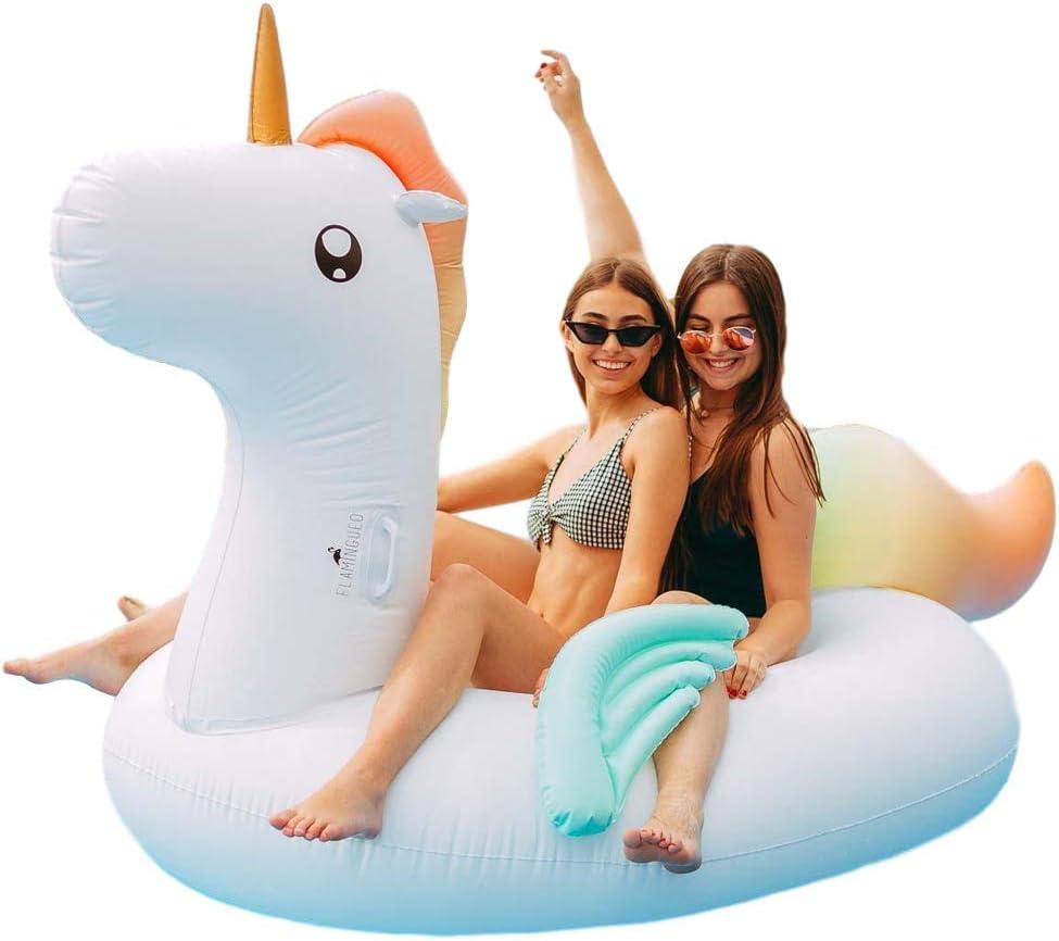 Flamingueo Flotador Gigante Unicornio - Colchoneta Piscina Unicornio, Colchoneta Hinchable Unicornio, Flotador Gigante, Flotador Adulto, Colchoneta Piscina, Hinchables para Piscina, 120x120 cm: Amazon.es: Juguetes y juegos