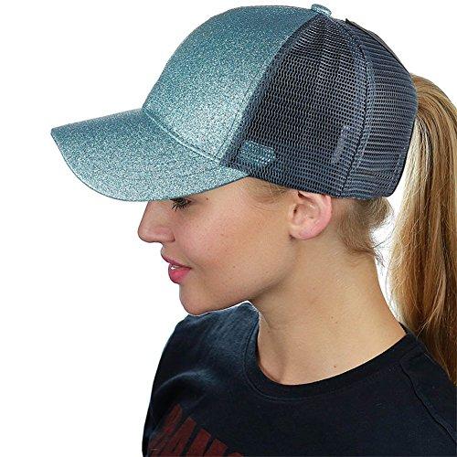 Womens Glitter Baseball Cap - HADM Adjustable Glitter Mesh Trucker Baseball Cap Ponycap Messy High Bun Ponytail Visor Cap Hats