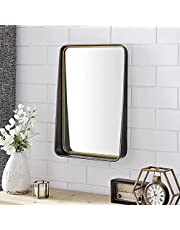 FirsTime & Co. Silver Kimber Beveled Mirror with Shelf, Metal, 24.5 x 3.5 x 16.5 inches