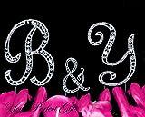 Swarovski Rhinestone Crystal Monogram Wedding Cake Topper Initial Letter 3 pcs