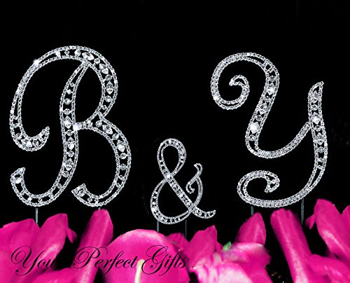 Swarovski Rhinestone Crystal Monogram Wedding Cake Topper Initial Letter 3 pcs by your_perfect_gifts (Image #1)