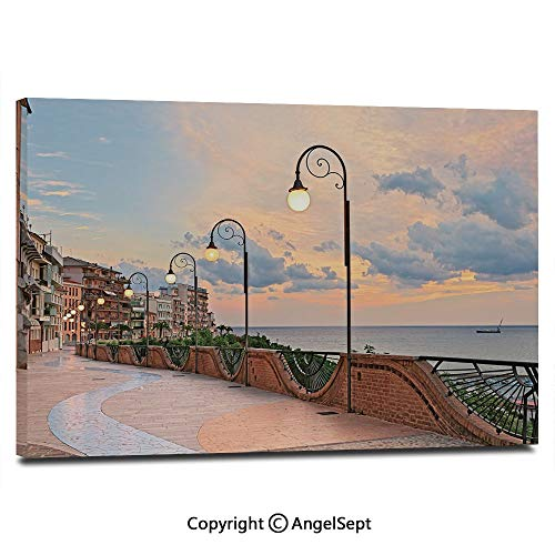 View Terrace - Modern Salon Theme Mural Dawn at Ortona Abruzzo Italy Terrace View on The Adriatic Sea Painting Canvas Wall Art for Home Decor 24x36inches, Light Caramel and White
