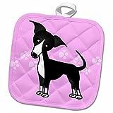 3dRose Janna Salak Designs Dogs - Cute Black Italian Greyhound Pink with Pawprints - 8x8 Potholder (phl_25372_1)