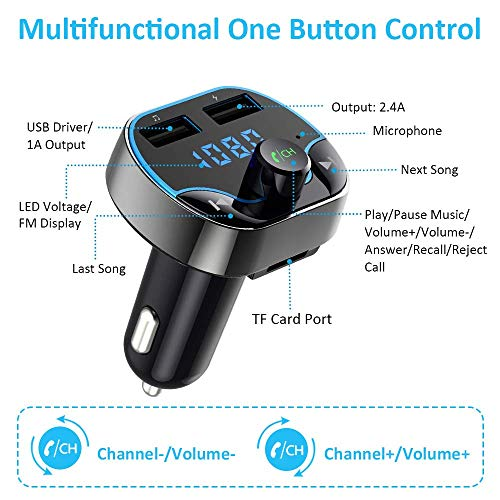 bluetooth fm transmitter for car vproof wireless radio. Black Bedroom Furniture Sets. Home Design Ideas