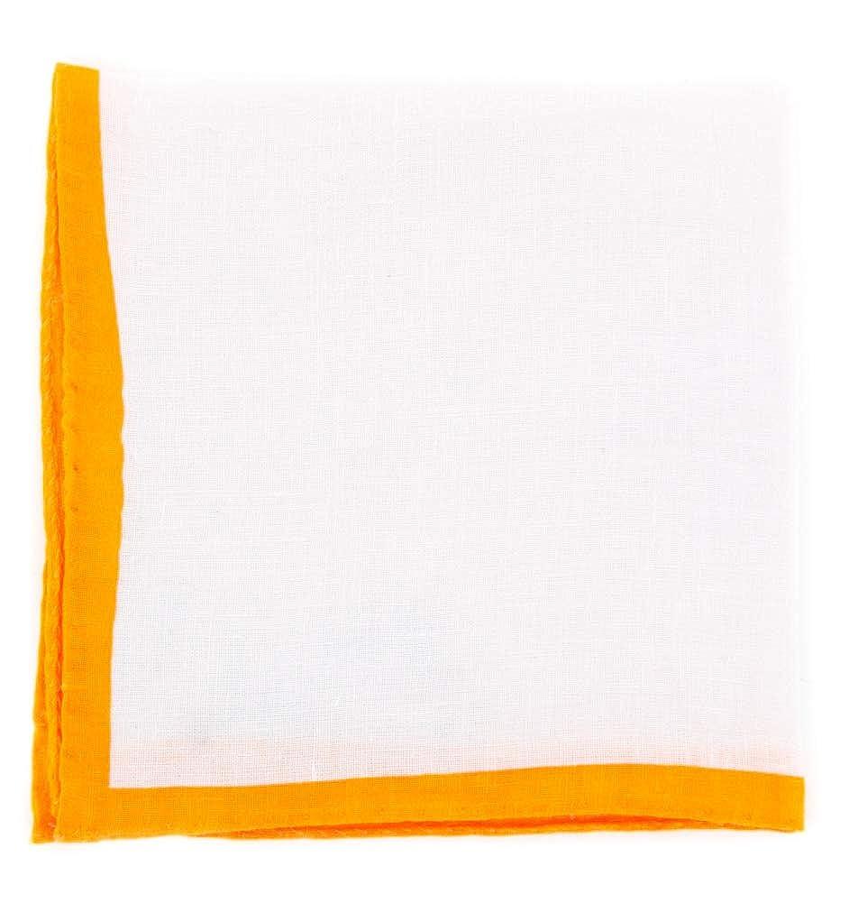 New Luciano Barbera White Geometric Pocket Square x 13