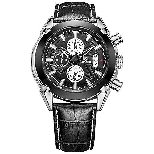 Mens Military 3 Sub Dials Waterproof Luminous Chronograph Quartz Wrist Watches With Leather Strap M2020bk