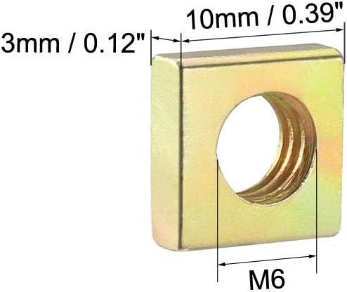 sourcing map Square Nuts M6x10mmx3mm Yellow Zinc Plated Metric Coarse Thread Assortment Kit 100 Pcs
