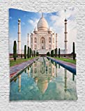 Asian Tapestry  by Ambesonne, Taj Mahal Sunrise Light Agra Asia History Love Story Emperor Landscape Marble, Wall Hanging for Bedroom Living Room Dorm, 60 X 40 Inches, Ivory Baby Blue