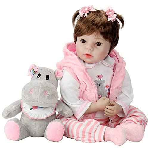 Aori Lifelike Realistic Reborn Baby Doll 22 Inch Real Looking Weighted Reborn Doll with Pink Clothes and Accessories Best Birthday Set for Girls Age -