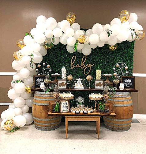 Party Balloons 100pcs 12 Inch Party Balloons Latex Balloons Birthday Balloons Helium Balloons for Christmas Baby Shower Party and Wedding Party- Matte White/Gold Confetti Balloon -