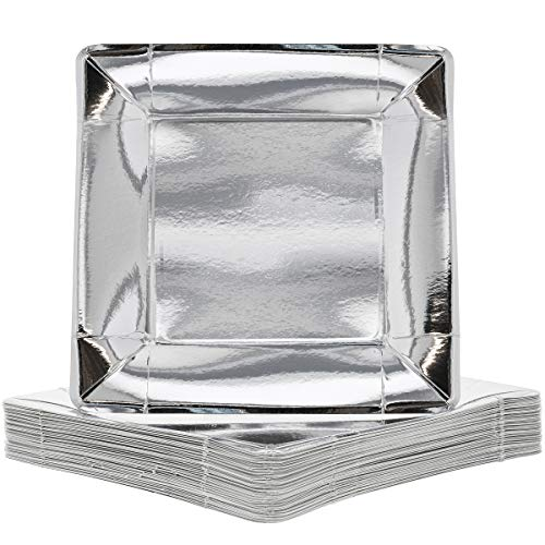 (Juvale 48-Pack Silver Foil 10 Inch Square Paper Party Plates)