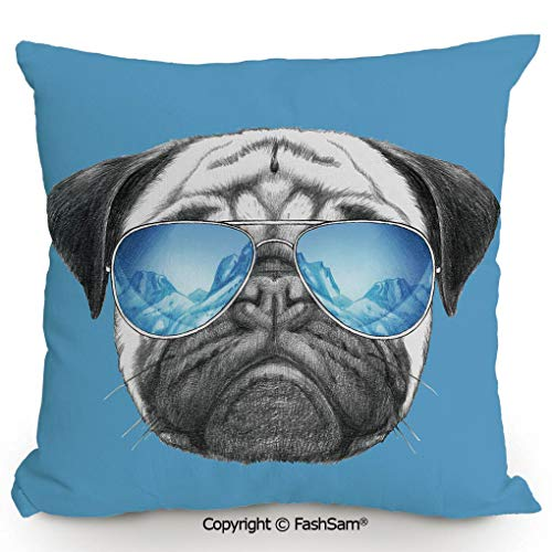 FashSam Polyester Throw Pillow Cushion Pug Portrait with Mirror Sunglasses Hand Drawn Illustration of Pet Animal Funny for Sofa Bedroom Car Decorate(18