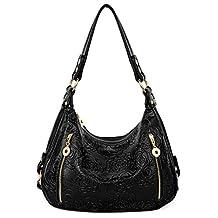 UTO Women Handbag PU Leather Purse Hobo Style Rose Flower Pattern Shoulder Bag