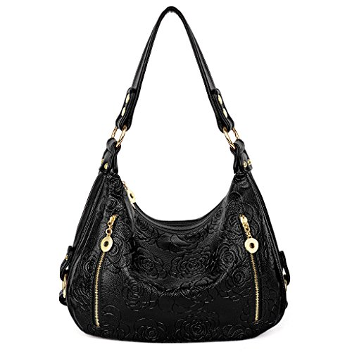 UTO Women Handbag PU Leather Purse Hobo Style Rose Flower Embossed Shoulder - Hobo Leather Embossed Bag