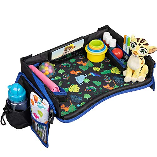 Kids Travel Tray with Carrying Bag - Premium Child Car Seat Activity Tray and Toddler Play Tray Organizer, Snack & Food Tray Carseat, Waterproof & Foldable, Tablet/iPhone Strap and Pouch (Baby Cries In Car Seat While Driving)