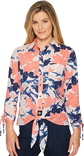 Ivanka Trump Womens Printed Woven Button Down Tie Front Shirt Blush Muilti XS One Size