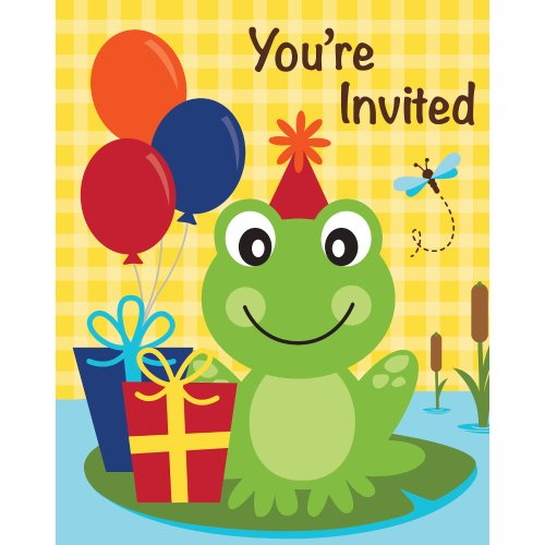 Creative Converting 8 Count Frog Pond Fun Fold Over Die Cut Invitations
