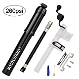 bike air pump portable - Bodyguard Mini Bike Pump - Reliable Hand Air Pump, Presta and Schrader Valve Compatible with Road, Mountain and BMX Bicycle Tires, High Pressure 260 Psi, 7.3 inches (Black)