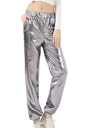 SOWTKSL - Pantalón de chándal para Mujer (metálico) Gris Gery L ...