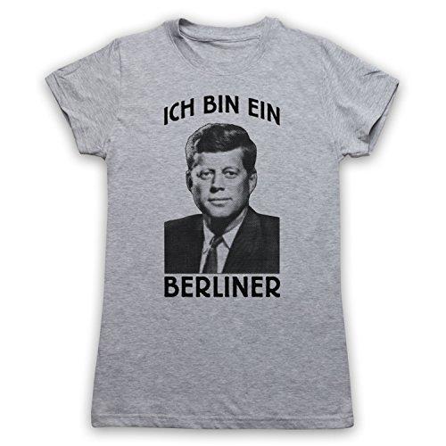 JFK Ich Bin Ein Berliner Camiseta para Mujer Gris Claro