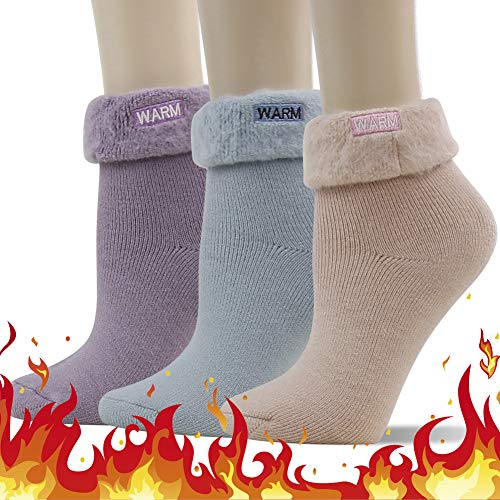 Winter Weather Boots - Warm Heated Socks Women, SUTTOS Fashion Casual Cotton Thermal Comfort Fuzzy Thick Turn Cuff Movelty Cute Funny Heat Trapping Thermal Lined Boot Socks Warm Winter Crew Socks For Cold Weather,3 Pairs