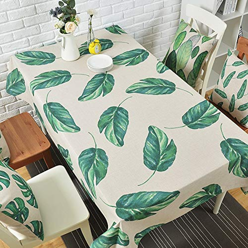 Honlaker Banana Leaves Table Cloth Cotton Linen European Pastoral Decorative Tablecloth  A B07SKWXYYT