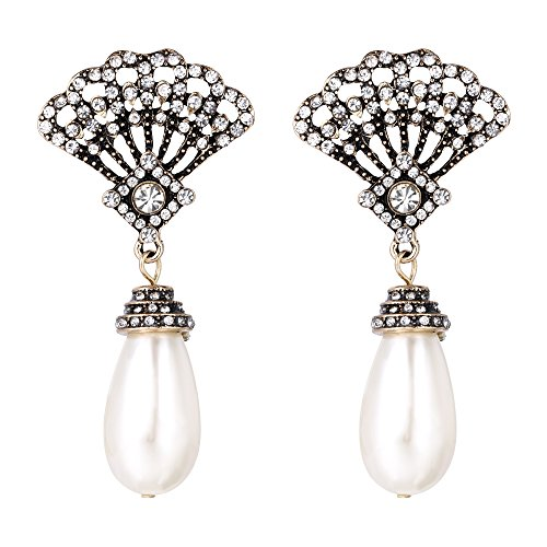 BriLove Women's Vintage Inspired Crystal Simulated Pearl Art Deco Fan Chandelier Dangle Earrings Clear Antique-Gold-Tone