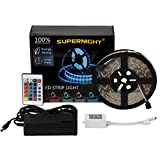 SUPERNIGHT (TM) 16.4ft 5M Waterproof Flexible 300leds Color Changing RGB SMD5050 LED Light Strip Kit RGB 5M +24Key Remote+12V Power Supply