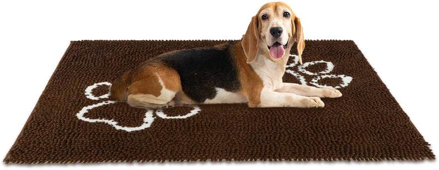 EXPAWLORER Dog Doormat for Dirty Dogs - Microfiber Absorbent Pet Door Mat, Brown