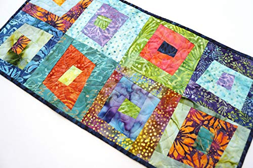 Colorful Quilted Batik Fabric Patchwork Table Runner (Hand Batik Cotton Table Runner)