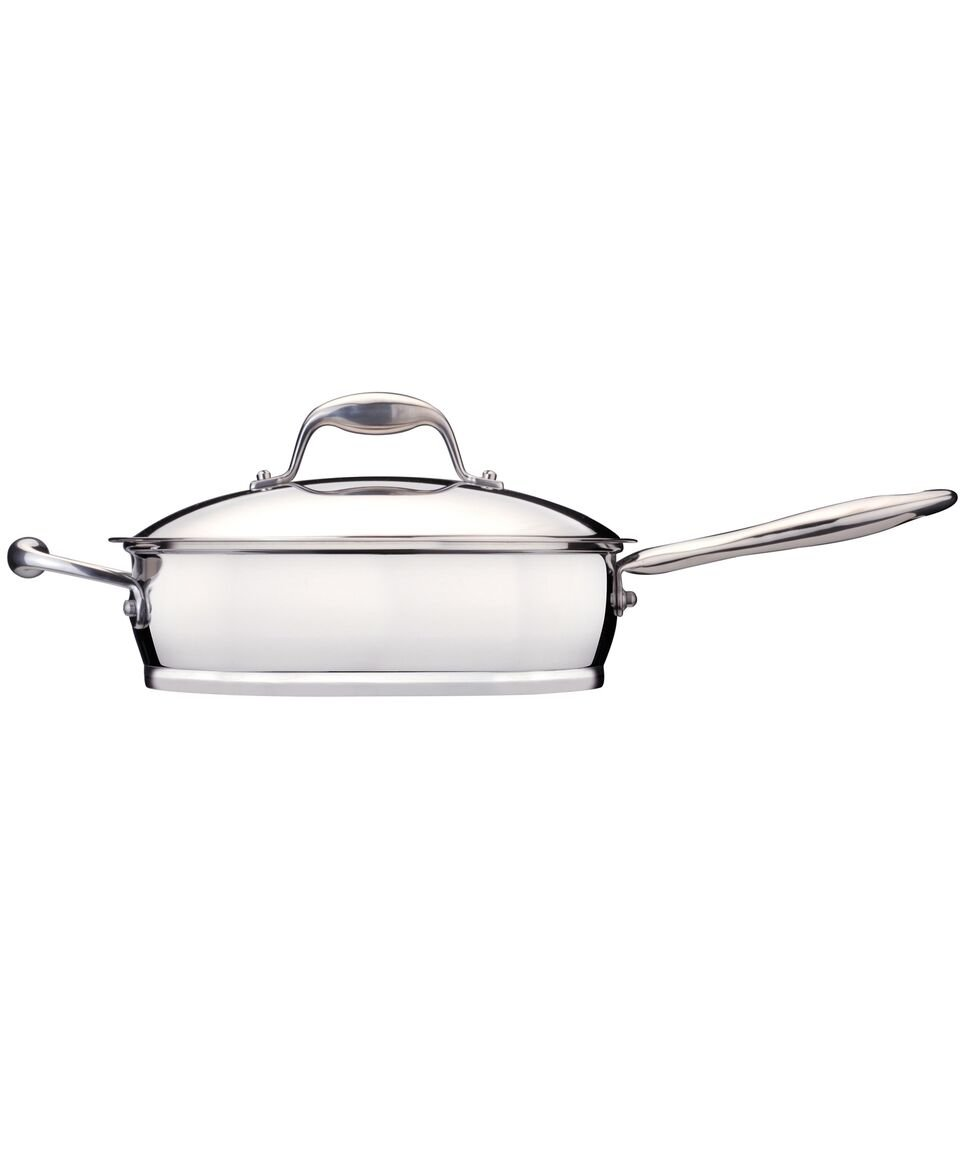 """Berghoff Zeno 9.5"""" 2.6qt 18/10 Stainless Steel Covered Deep Skillet with Revolutionary 6-layer Sandwich Base- Dishwsher and Oven Safe"""