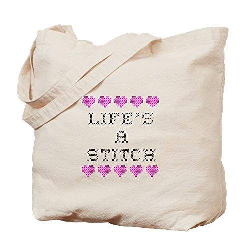 CafePress–de la vida––de punto de cruz de punto de una gamuza de bolsa de lona bolsa, bolsa de la compra Small caqui