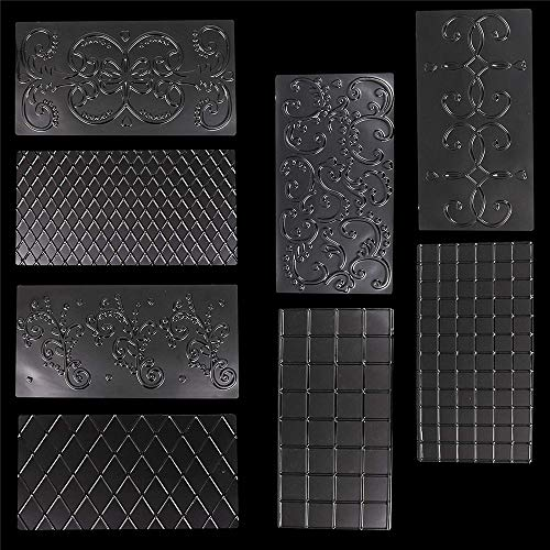 KingNew Fondant Impression Mat,8 pcs (12 x 6.3 Inches) 2 Diamond, 2 Square, 4 Floral Design Icing Clear Plastic Cake Imprint Mat,Continuous Quilting Cake Decorating Tool Chocolate, Cookie Embossing Ma