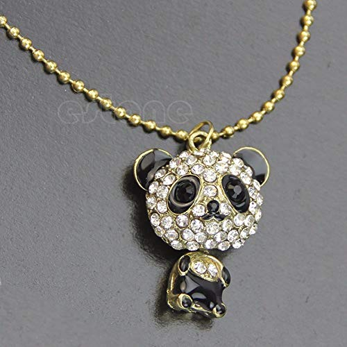 Bull Head - Fashion Crystal Rhinestone Moving Head Cute Panda Pendant Sweater Necklace Chain T52 - Name Pieces Pandora Steel Organizer Military Magnetic Women Black Assortment Length Chain Pouch ()