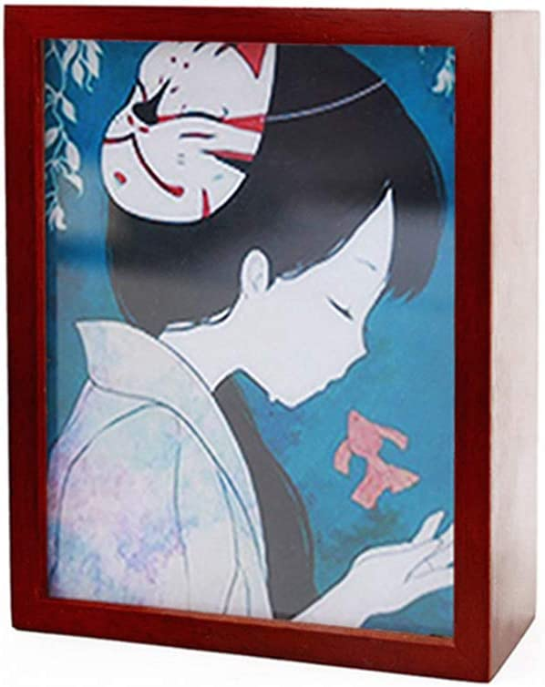 Youtang Howl's Moving Castle Music Box Photo Frame Windup Wood Musical Box,Play Merry-go-Round of Life
